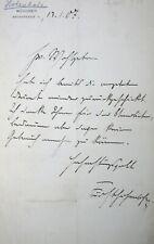 EIGENHÄNDIGER BRIEF FÜRST PHILIPP ERNST HOHENLOHE-SCHILLINGSFÜRST MÜNCHEN 1907