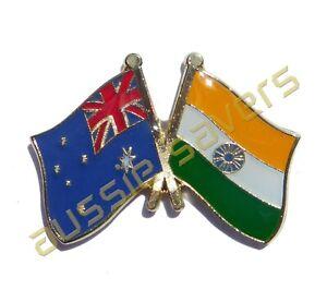 AUSTRALIA / INDIA  FLAG HAT PIN / BADGE - ENAMEL FRIENDSHIP BADGE