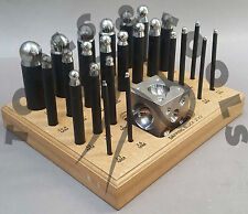 """24 x QUALITY DAPPING PUNCH SET STEEL 2"""" SQUARE DOMING BLOCK  WOODEN STAND TOOLS"""