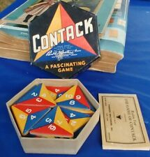 VINTAGE ANTIQUE CONTACK DOMINO CARD GAME PARKER BROTHERS 1939 OLD HEXAGON TOY AD