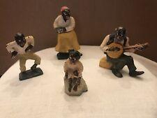 Rare Vintage 4 Pc Cast Iron Black Americana Figures.