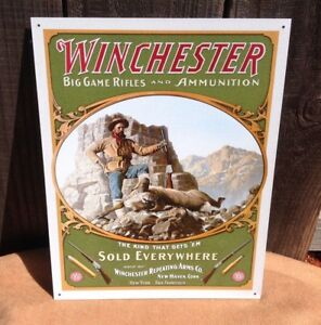 Winchester Big Game Rifles Sold Everywhere Tin Metal Sign Wall Garage Classic