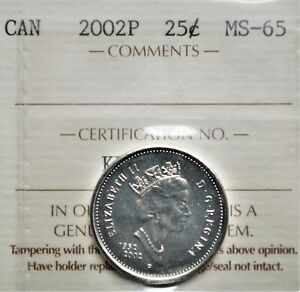 2002-P (1952-) Canada 25 cents ICCS MS-65