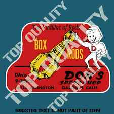 VINTAGE BOX RODS Decal Sticker for Mancave Garage Dragster Hot Rod Stickers
