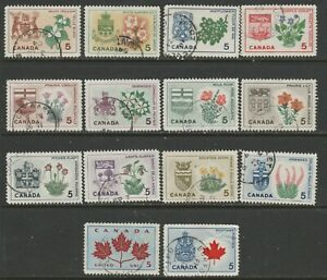 CANADA #417-429A  PROV FLOWERS USED  CDS TOWN CANCELS