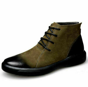 Mens Comfortable Chelsea Bootie Round Toe Lace Up Shoes Faux Sude Ankle Boots