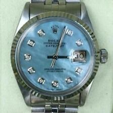 Rolex 36mm Datejust 16234 Mens Steel 18K White Gold Blue Diamond Mother of Pearl