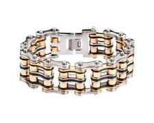"Heavy Stainless Steel Chain Bike Bracelet Tri-Color 1"" Wide Heavy Metal Designs"