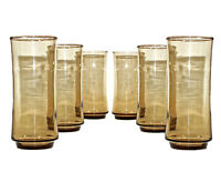 SET OF 6 VINTAGE NEW 16OZ LIBBEY MID CENTURY AMBER BROWN TALL DRINKING GLASSES