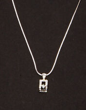 MODERN REGAL SILVER METAL NECKLACE WITH DIAMANTE TOKEN 5CM ADJUSTABLE(ZX40)