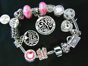PINK MOTHER CHARM BRACELET SUPER MOM HEART FAMILY CROWN CHRISTMAS Stainless Stl