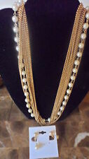 vintage multi chain white pearl wedding necklace and earrings