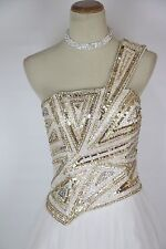 TERANI Couture Ivory Cruise Formal Ball Gown Size 4 Long $420 Dress 1 Shoulder