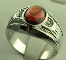 Mandarin Garnet simulated men's Ring 18k white gold overlay size 11