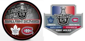 STANLEY CUP 1ST ROUND PLAYOFFS PUCK & PIN MONTREAL CANADIENS TORONTO MAPLE LEAFS