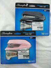 SWINGLINE COMPACT STAPLER 3-IN-1 SET Bonus Pack PINK & BLACK Lot of 2 NEW