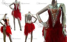 Ostrich Feather  Latin Rhythm  Dance Dress With high Quality Rhinestones M166