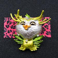 Johnson Animal Charm Brooch Pin Gift New Fashion Green Enamel Cute Owl Betsey