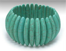 Semiprecious Turquoise Blue Genuine Howlite Stone Stretch Cuff Bracelet Bangle