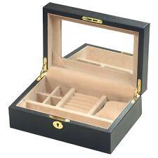 Genuine Full Hide Black Leather Jewellery Box with Lock