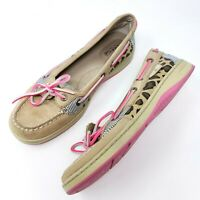 Sperry Top Sider Womens Boat Shoes Sz 6.5 M Tan Pink Animal Print Lace Up