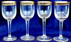 4 Vintage Retro Clear Liqueur Port Glasses with gold trimmed base and rim 30ml