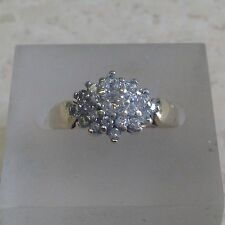 9ct 0.50ct Diamond Cluster Ring. Size L.