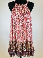 Free People Trapeze Fuschia Floral Paisley Boho Halter Print Cotton Mini Dress