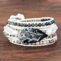Boho Silver Raw Natural Druzy Geode Slice Bead 5 Rows Rope Wrap Bracelet Women