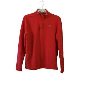 Vineyard Vines Boys Saltwater 1/4 Zip Sweater XL 18 Red Pima Cotton Pullover