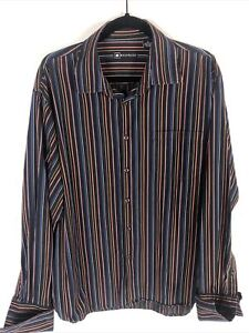 Bachrach Mens XL Multicolor Striped Long Sleeve French Cuffs Shirt
