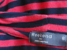 WEEKEND by JANE LAMERTON StripedStretchVneckSz8 EUC