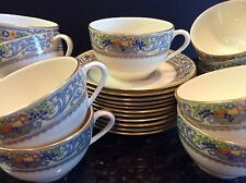 Set 11 Lenox Ivory Fine China THE AUTUMN Flat Cup & Saucer Sets Black Back Stamp