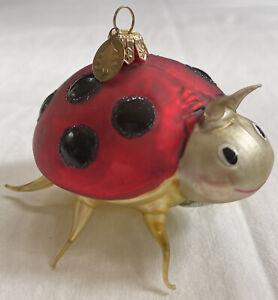 Italian Glass Christmas Tree Ornament Ladybug-Not Radko Oval Charm On Cap