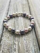 8mm White/Grey/Pink Shell Pearl Elastic Bracelet Sterling Silver Bead