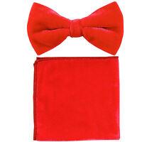 New in box formal Men's Pre-tied Velvet Bow tie & Hankie solid Red wedding