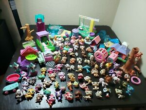 Vintage Hasbro Littlest Pet Shop Lot Of 79 Animals Accessories Dogs Cats Rare
