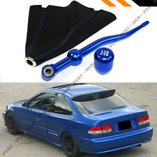 FOR 88-00 HONDA CIVIC DUAL SHORT SHIFTER+ BLUE TYPE-R SHIFT KNOB + LEATHER BOOT