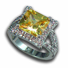 Canary Yellow Princess-cut Cubic Zirconia Rhodium Ring, R.S. Covenant, Size 9