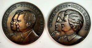 MARCOS NIXON MEDALS JULY 26, 1969 PHILIPPINES BIG 77MM H655 B926, H655A B927 UNC