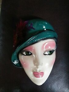 Vtg Face Clay Art Ceramic Mask dated 1990