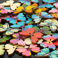 50Pcs 2 Holes Mixed Butterfly Shape Wooden Sewing Buttons Scrapbooking DIY Craft