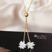 18K Yellow Gold Filled Made With Swarovski Crystal Ice Flower Lariat Necklace