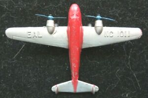 TootsieToy Silver & Red #125 Lockheed Electra Airplane Mfg 1937 Nice Condition