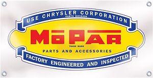 Chrysler Mopar Parts Muscle Car Banner Retro Vintage Logo Emblem Sign Replica