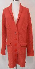 Sparrow Anthropologie Pointelle Knit Shawl Collar Long Cardigan Sweater L Orange