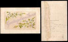 WWI EMBROIDERED GREETINGS from FRANCE SILK POSTCARD - USED