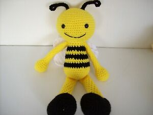 Stuffed Bumble bee, around 14 inches tall, Hand crochet,New