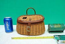 Vintage Wicker Trout Creel Basket - Unusual Smaller Size w Bob-Bet bait box