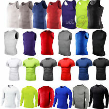 Mens Compression Under Base Layer Sport Tight Long Short Sleeve Sweat T-Shirts